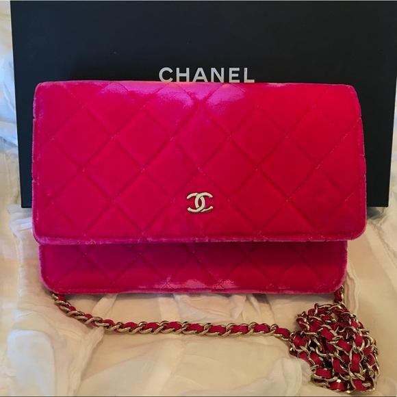 bd5f4641cb6d CHANEL Bags   Fuschia Velvet Wallet On Chain   Poshmark